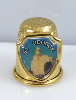 Vintage St. George Utah Mormon Temple Thimble Gold Tone Souvenir Collectible
