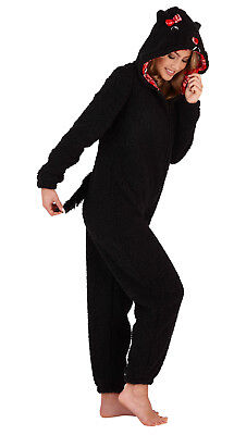 Womens 3D Scotty Dog All In One Hooded Character Faux Fur Pyjamas Jumpsuit Size