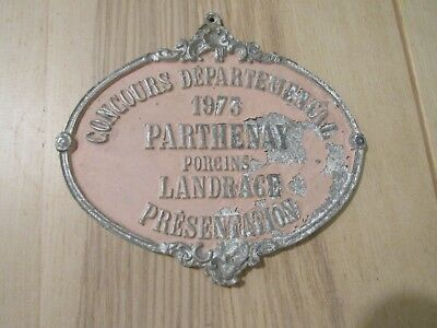 """French Large Antique France Painted Metal Sign Pink and Metal 7.5"""""""