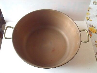 """Large Vintage  Solid Copper Pot With Brass Handles 15"""" Diameter"""
