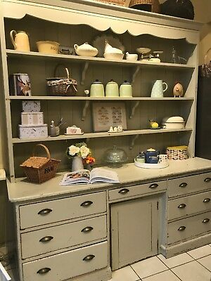 Victorian Kitchen Dresser Shabby Chic painted in Farrow and Ball French Grey