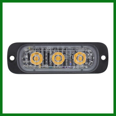 """High Power 3 LED 3/8"""" Super Thin Amber Clear Lens Strobe Warning Surface Mount"""