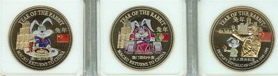 Macau Returns To China 1999 Colorized Trade Dollar 3 Proof Coin Set