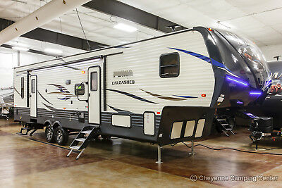 New 2019 Unleashed 373QSI Slide Out 5th Fifth Wheel Toy Hauler with Power Bunks