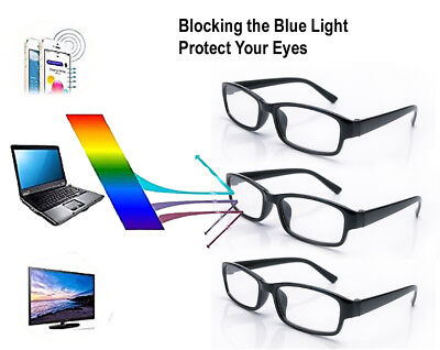 3 X Slim Unisex Reading Glasses Designer Vision Anti Glare Blue Light Computer