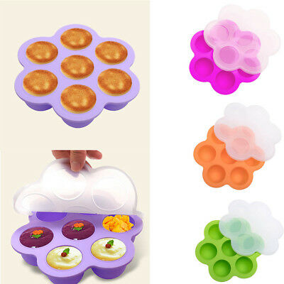 7 Holes Silicone Egg Bites Molds Baby Kids Pot Accessories Food Storage w/ Lid