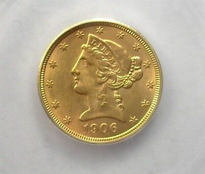 1906-D Liberty Head $5 Gold Half Eagle Icg Ms65 Lists For $1,950!! Better Date
