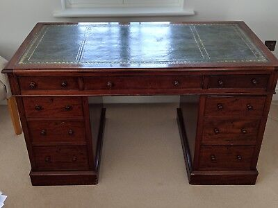 Large Antique Mahogany Twin Pedestal Writing Desk with Green Leather Inlay