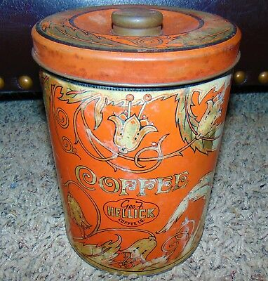Large Antique Shabby Chic Floral Coffee Tin Canister George HELLICK Coffee Co