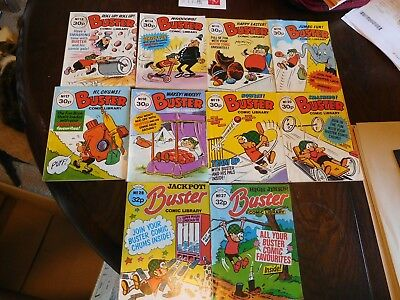 Ten Early Edition Vintage Buster Comic Library's no 13 to 20, 27 & 28