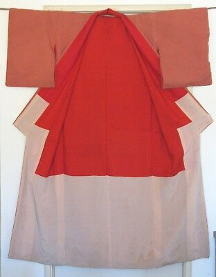 "Vintage Japanese Crepe Silk Kimono~Red~With Silk Lining~""60'S~Used"