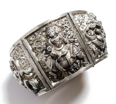 Stunning Antique Victorian Anglo Indian Silver Wide Hindu Bangle Bracelet (B5)