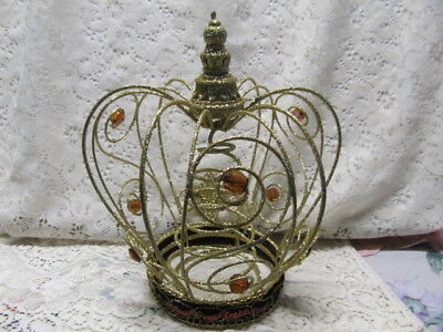 Gold Glittered Crown Christmass Tree Topper, Metal, Sequins, Holiday Decor