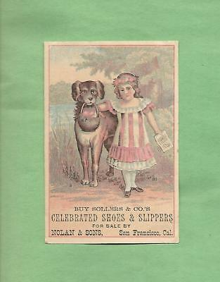 Lovely GIRL, Loyal DOG On CELEBRATED SHOES & SLIPPERS Victorian Trade Card