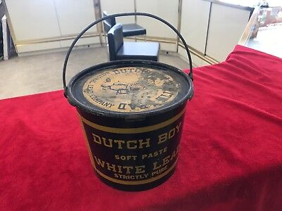 Vintage DUTCH BOY soft paste white strictly pure lead can 50 lbs with lid