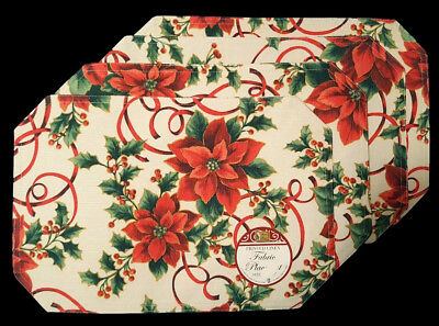 Nwt Poinsettia Floral 4 Fabric Placemats Set Christmas Holiday Kitchen Decor