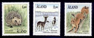 Aland 1991 Animals, Hedgehog, Red Squirrel and Roe Deer UNM / MNH