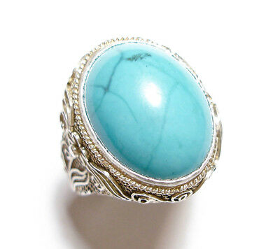Beautiful Vintage Or Antique Chinese Silver & Turquoise Ring Band Af (B12)
