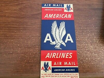 UNITED STATES 1950s AMERICAN AIRLINES PANE OF 3 SELF ADHESIVE AIRMAIL LABELS