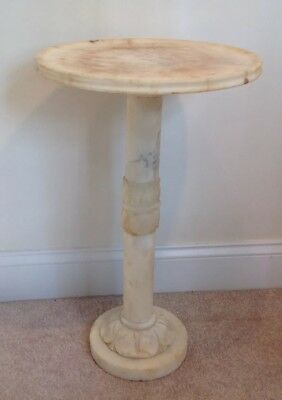 """Vintage Marble Pedestal Stand Solid Carved Stone Table Statue Sculpture 23.5""""T"""