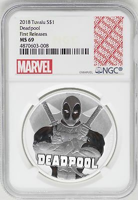 2018 Deadpool 1 Oz 9999 Silver Coin NGC MS69 FR Tuvalu $1 Marvel Comics JB327