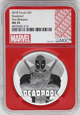 2018 Deadpool 1 oz .9999 Silver Coin NGC MS70 FR Redcore Tuvalu $1 Marvel JB328