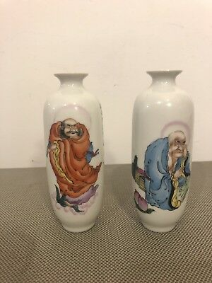 Chinese Porcelain Scent Bottles Pair Calligraphy Immortal God Decoration