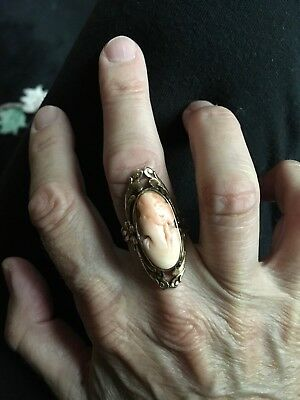 Vintage art nouveau 1920s-30s 10k stamped angel Whisper coral Cameo ring Sz 8