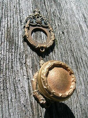 Vintage Old Antique Ornate Bronze Door Knob w Two Matching Escutcheon Backplates