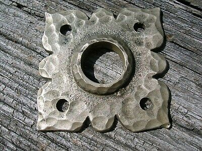 Vintage Old Antique Nickel Bronze Door Knob Escutcheon Back Plate DW Co