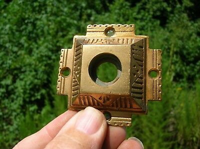 Vintage Old Antique Bronze Door Knob Escutcheon Back Plate Art Deco Design