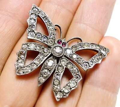 Beautiful Victorian Or Edwardian Silver & Paste Stone Butterfly Hatpin (B16)