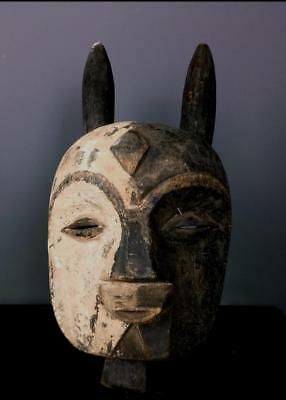 Old Tribal Kwele  Mask  With Horns       ---- Gabon