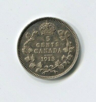 1913 Canadian Five Cent Silver Coin Very Fine (CTL1118)