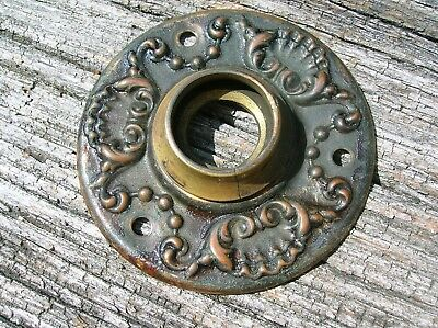 Vintage Old Antique Stamped Bronze Door Knob Escutcheon Back Plate