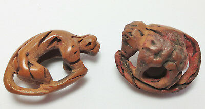 Antique Estate Lot of Two Chinese Carved Peach Pits-MONKEYS