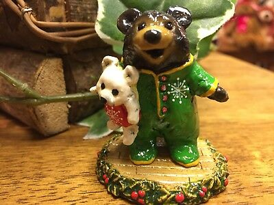 Wee Forest Folk BB-10 Nighty Bear In Christmas Colors, LTD