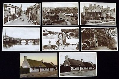8 miscellaneous postcards of Ayr: High St, Wallace Tower, Belleisle House etc
