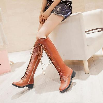 Womens Lace Up Knee High Boots Warm Ridding Low Heels Knight Casual Shoes Girls