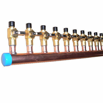 """1 1/4"""" Copper Manifold 3/4"""" Pex Crimp Fitting (With & W/O Ball Valve) 2-12 Loops"""