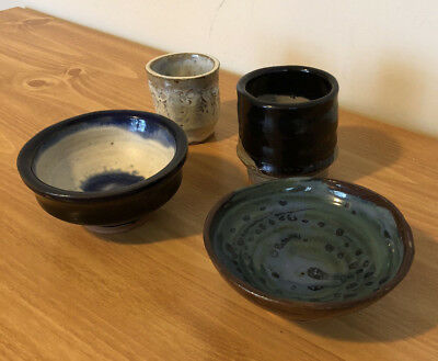 Lot of 4 Handmade Hand Thrown Glazed Pottery Clay Pieces
