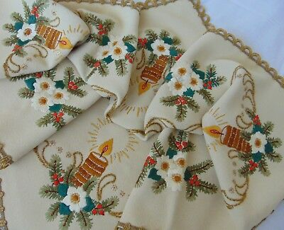 Antique Hand Embroidered Victorian Country Nostalgic Christmas Table Cloth Vgc