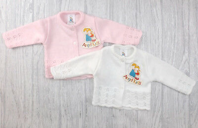 Baby girls girl white pink fancy knit knitted cardigan 0-3-6-9 months new gift