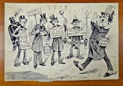 Original Frederick Burr Opper 1857-1937 Signed Pen and Ink Humorous Art 7x10.5