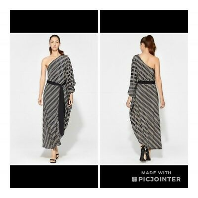47ca88d86529 Halston Heritage One Shoulder Striped Belted Silk Dress Gown M NWT $475