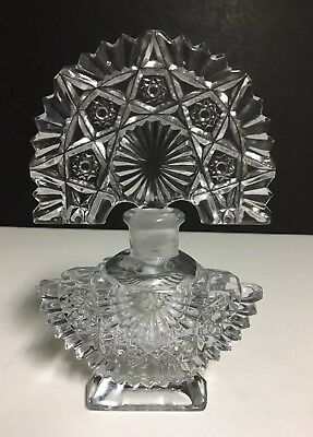 """Vintage Art Deco Clear (Pressed??)Glass Perfume Bottle 7"""" Tall~Star Pattern~"""