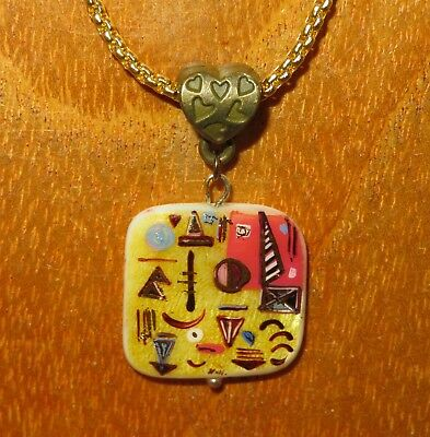 SHELL PENDANT EGYPT symbols Russian hand painted small Gold Red Yellow chain