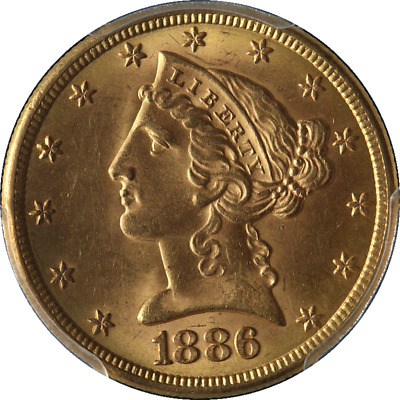 1886-S Liberty Gold $5 PCGS MS64 Superb Eye Appeal Fantastic Luster Nice Strike