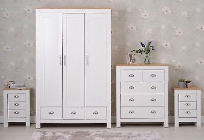Three Or Four Piece Furniture Set 2/3Door Wardrobe Beside Table Drawer Chest set