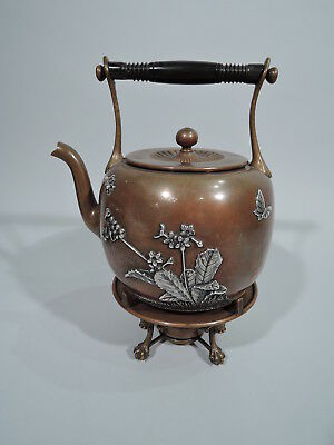 Gorham Tea Kettle on Stand - Antique - American Mixed Metal Silver Copper - 1882